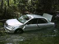 car in myall creek at cape tribulation
